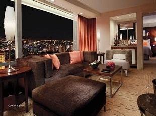 aria corner suite showing vegas view