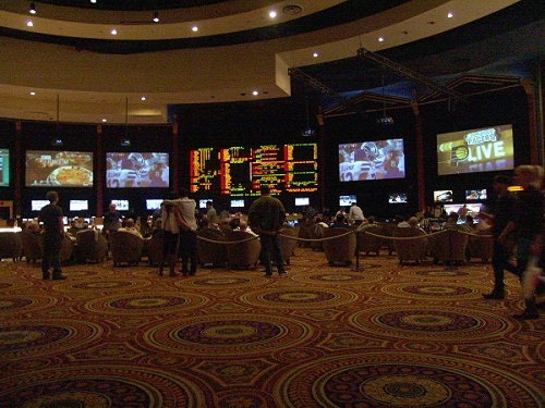 caesars palace sports book is often very crowde