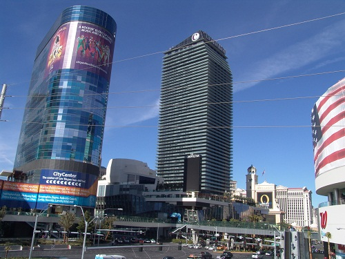 view from east side of strip facing west