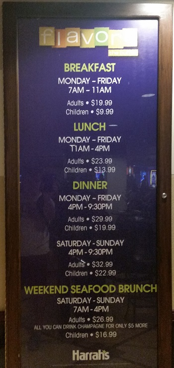 Pricing for Flavors buffet