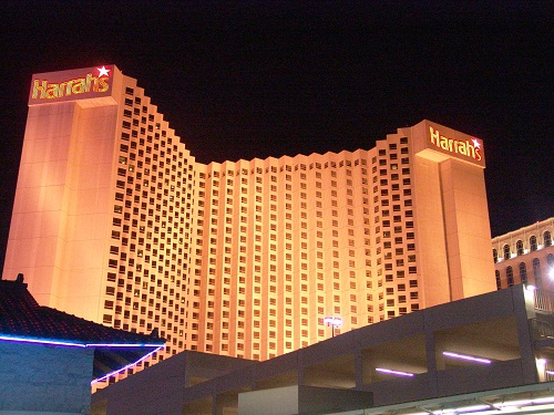 beautiful night view of harrahs from the back