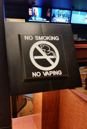 no smoking sign at the aria sports book