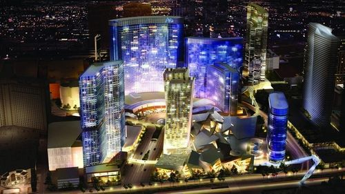 aerial view of aria and citycenter