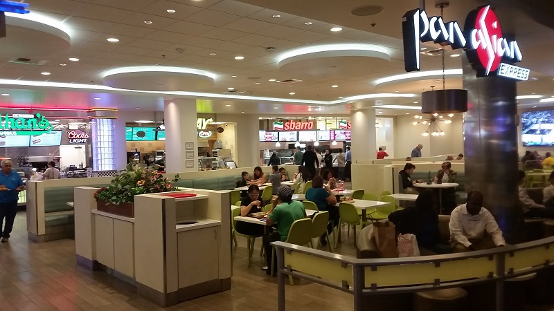 Ballys Food Court is spacious and You can even watch sports as You eat