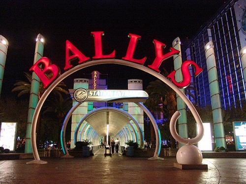 iconic ballys night tunnel sign was most famous in Vegas but it was torn down for the bazaar Shops