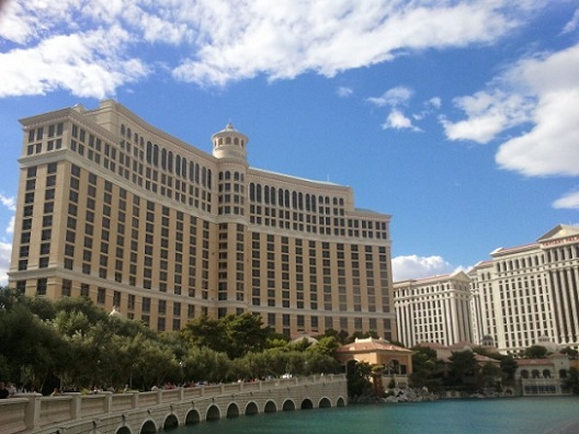 day shot of bellagio las vegas front from the south sid