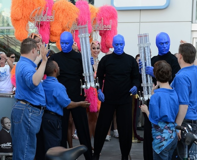 Blue Man group with members of Opportunity Village