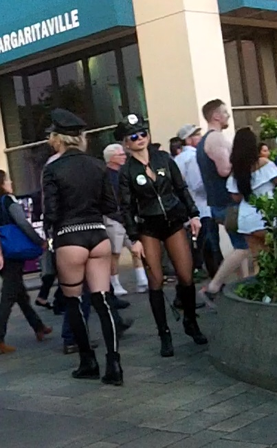 The Sexy Cops are all over Vegas, it's an easy outfit for a hot Girl and the routine is pretty easy also. You will get patted down before You take a selfie.
