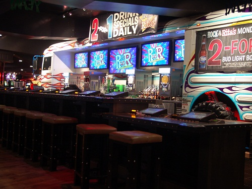 school bus made into a bar