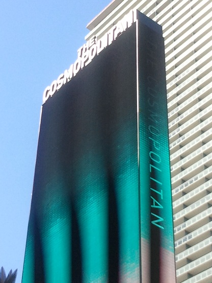 view of the cosmopolitan las vegas sign from street level