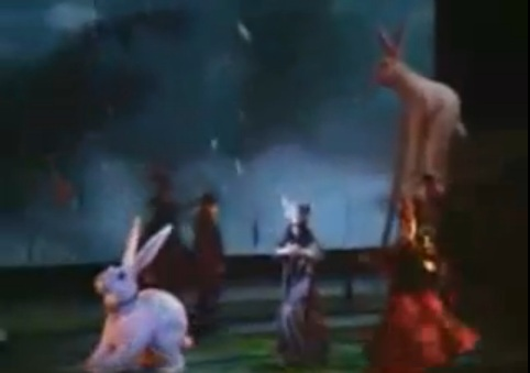 giant fur rabbits are part of the show Criss Angel Believe with Cirque du Soleil at Luxor Hotel and Casino