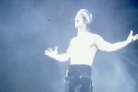 trademark gesture without his shirt Criss Angel Believe with Cirque du Soleil at Luxor Hotel and Casino