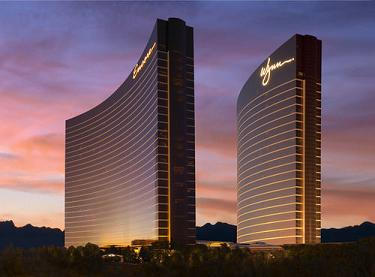 encore and wynn at dusk, las vegas