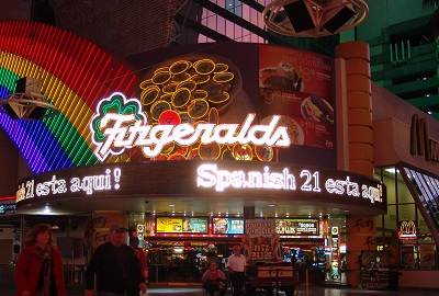 fitzgeralds at night downtown vegas