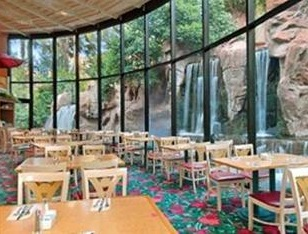 restaurant with fountains in the backgroun