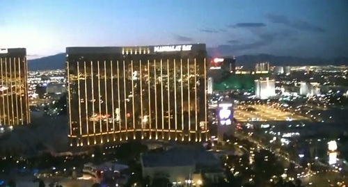 Mandalay Bay from Helicopter at night