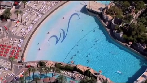 Aerial View day of Swimming Pool at Mandalay Bay Beach