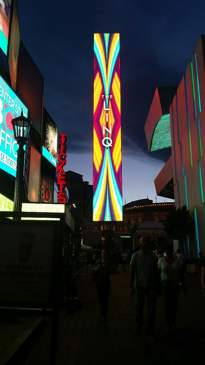 This digital sign is used to update up to the minute activities at the Linq