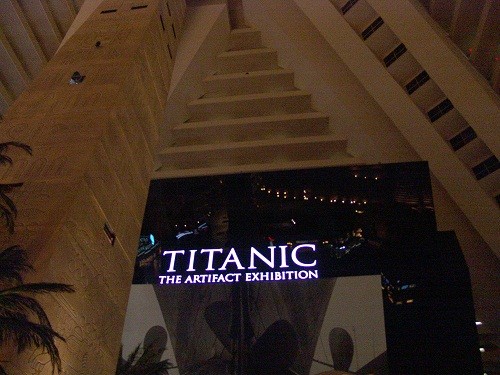 front of the titanic show at luxor