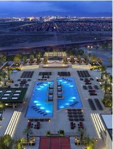overlook the swimming pool and see lv strip in the distanc