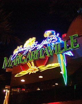 night view of the parrots sign at margaritaville