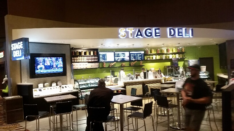 You can get a great Sandwich at the Stage Deli located in the Sports Book