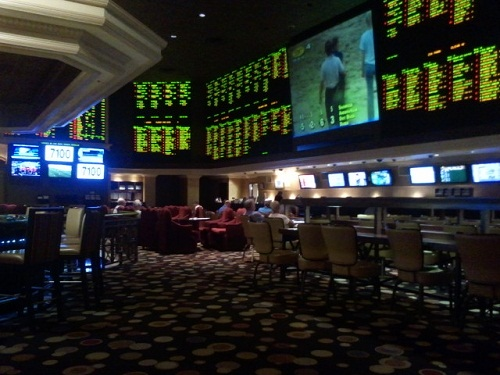 dim lighting in the sports book makes it relaxin