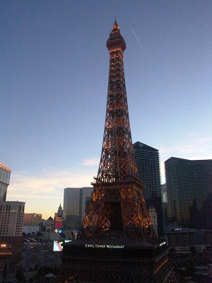 full view of eiffel tower from ballys guest room
