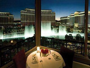view of bellagio fountains from eiffel tower restaurant