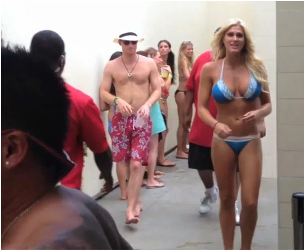 girl with huge tits walks in front of prince harry