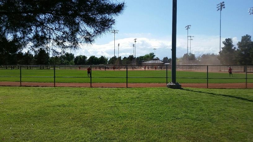 Softball Field suffers dust storm on windy day