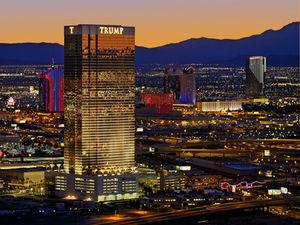 Night skyline view of Trump International Las Vegas