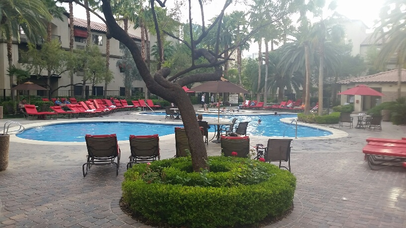 The main pool offers full sun and Shade during the day