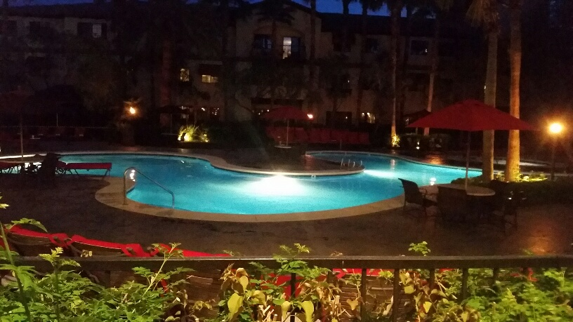 The main pool is very relaxing and beautiful at night.