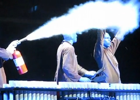 Blue Man Group performing at the Monte Carlo Theatre Las Vegas