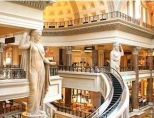 forum shops curved escalator