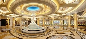 marble fountain and registration counter at caesars
