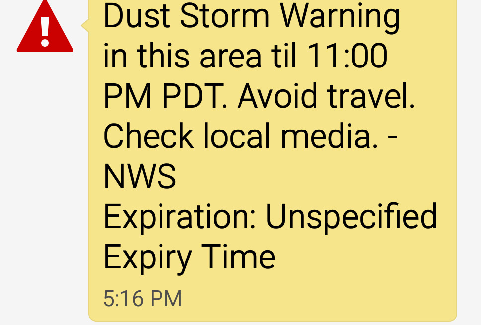 Dust Storms are common and can even be dangerous in Las Vegas