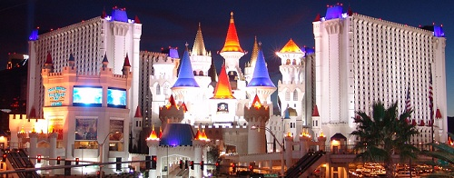 night picture of excalibur las vegas