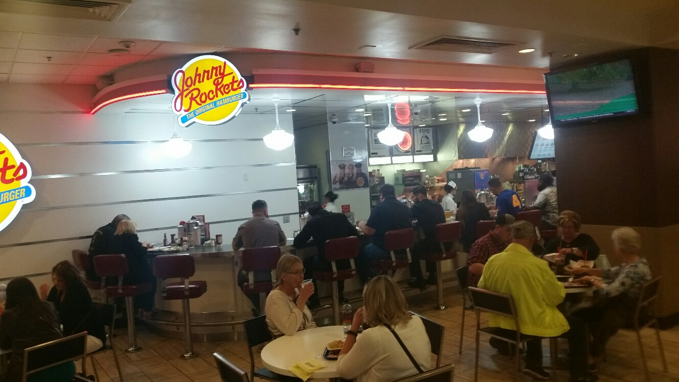 Johnny Rockets specializes in burgers but they also have great chicken tenders and loaded Fries.