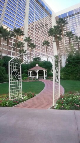 the gazebo for weddings and showing the tall hotel in the backgroun