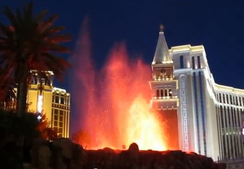 volcano going off with venetian in backgroun