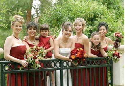 bridesmaids on bridge