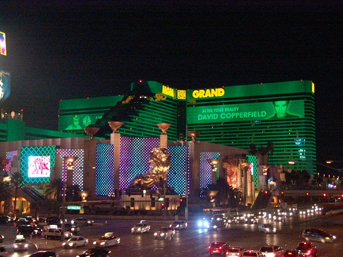 night view of MGM Grand