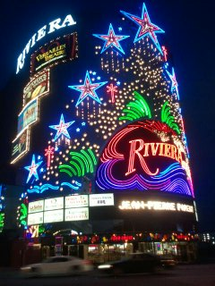 night shot of riviera colorful facade