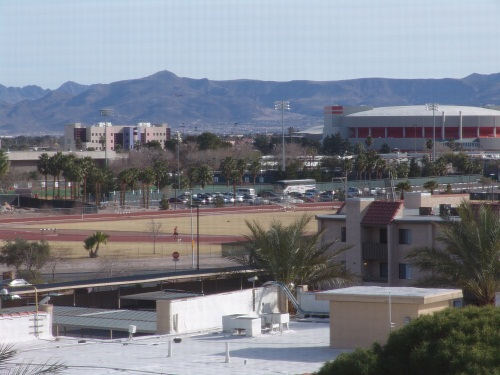 the campus of UNLV seen from the terribles tower room on the 6th floor