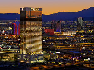 Night skyline view of Trump International Las Vegas